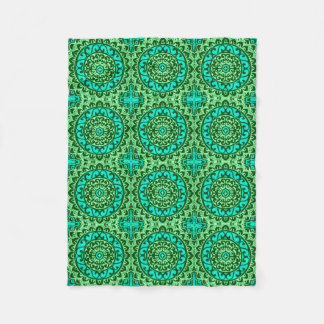 Southwestern Sun Mandala Batik, Lime Green Fleece Blanket