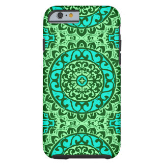 Southwestern Sun Mandala Batik, Lime Green Tough iPhone 6 Case