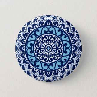 Southwestern Sun Mandala Batik, Navy Blue & White 2 Inch Round Button