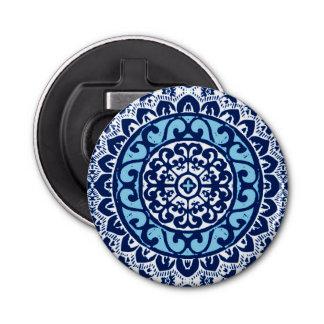 Southwestern Sun Mandala Batik, Navy Blue & White Bottle Opener