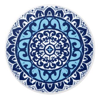 Southwestern Sun Mandala Batik, Navy Blue & White Ceramic Knob