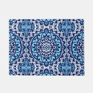 Southwestern Sun Mandala Batik, Navy Blue & White Doormat