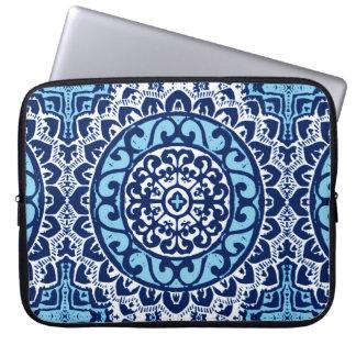 Southwestern Sun Mandala Batik, Navy Blue & White Laptop Sleeve