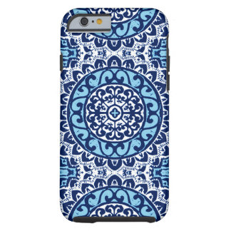 Southwestern Sun Mandala Batik, Navy Blue & White Tough iPhone 6 Case