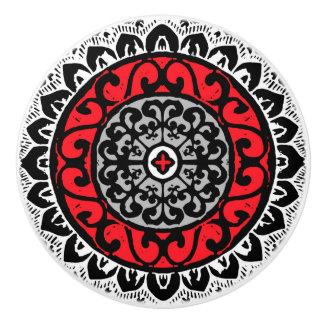 Southwestern Sun Mandala Batik, Red, Black & White Ceramic Knob