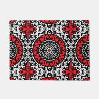 Southwestern Sun Mandala Batik, Red, Black & White Doormat