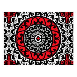 Southwestern Sun Mandala Batik, Red, Black & White Postcard