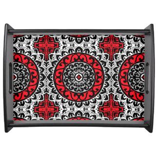 Southwestern Sun Mandala Batik, Red, Black & White Serving Tray