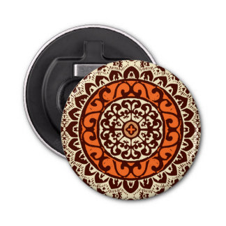 Southwestern Sun Mandala Batik, Rust & Brown Bottle Opener