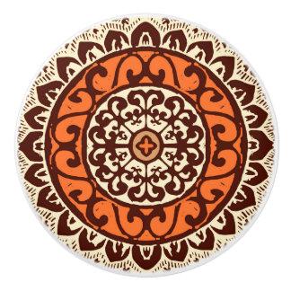 Southwestern Sun Mandala Batik, Rust & Brown Ceramic Knob