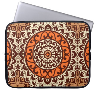 Southwestern Sun Mandala Batik, Rust & Brown Laptop Sleeve