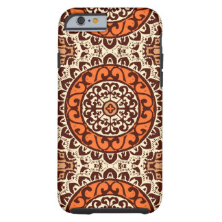 Southwestern Sun Mandala Batik, Rust & Brown Tough iPhone 6 Case