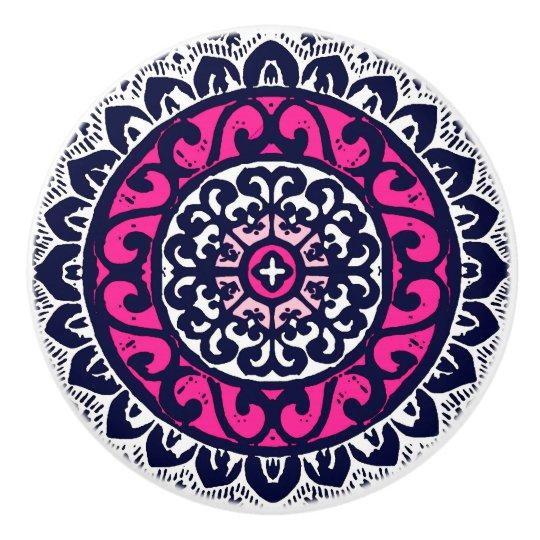 Southwestern Sun Mandala, Fuchsia, Navy & White Ceramic Knob