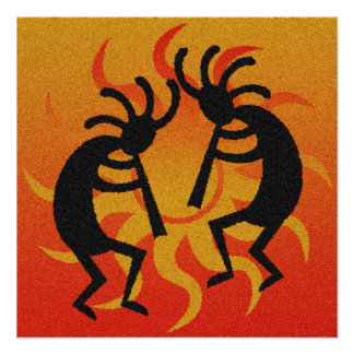 Southwestern Tribal Desert Sun Kokopelli Perfect Poster