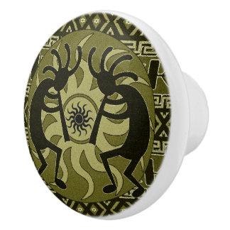 Southwestern Tribal Sun Aztec Pattern Kokopelli Ceramic Knob