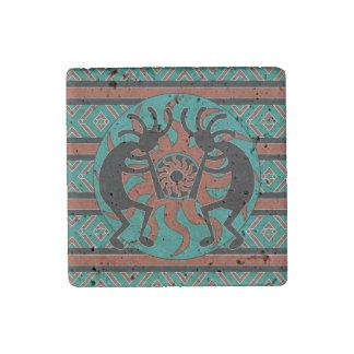 Southwestern Turquoise Tribal Sun Kokopelli Stone Magnets
