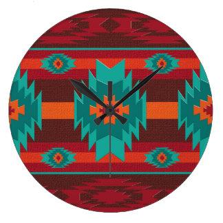 southwestrn ethnic navajo geometric pattern. large clock