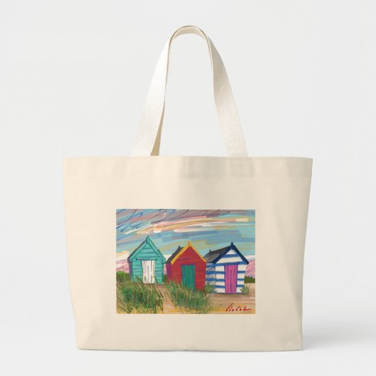 Southwold Beach Huts Large Tote Bag