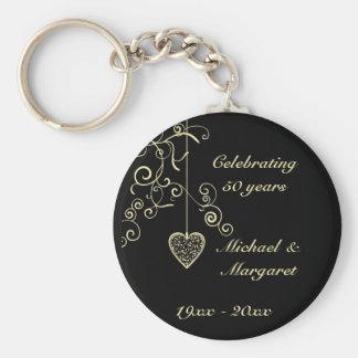 Souvenir élégant d'anniversaire de mariage d'or de porte-clé rond