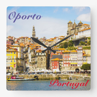 Souvenir from Oporto city, Portugal Square Wall Clock