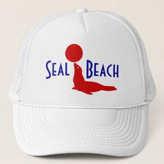 Souvenir Hat Seal Beach CA Travel Red White Blue