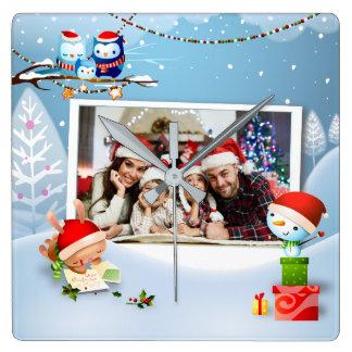Souvenir Of Christmas Photo Frames Wall Clock