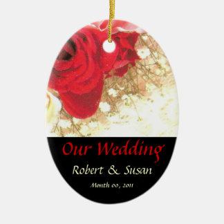 Souvenir rose de faveur de mariage ornement de noël