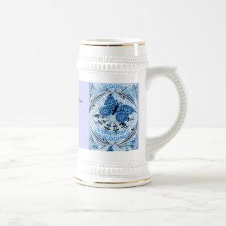Souvenirs de mariage ; Bleu de papillon Chope À Bière