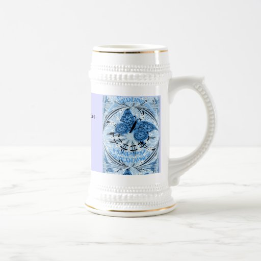 Souvenirs de mariage ; Bleu de papillon Tasse