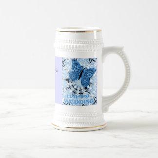 Souvenirs de mariage ; Papillon Blue1 poussiéreux Mugs