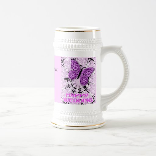 Souvenirs de mariage ; Rose a de papillon Mug À Café