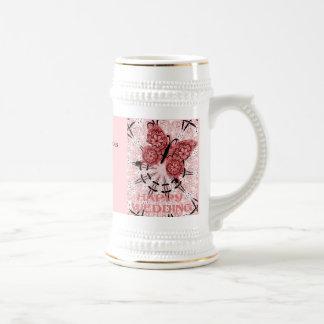 Souvenirs de mariage ; Rose de Dudty de papillon Mugs À Café