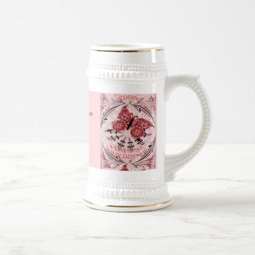 Souvenirs de mariage ; Rose poussiéreux 1 de papil Tasse