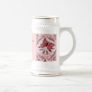 Souvenirs de mariage ; Rose poussiéreux de papillo Tasse