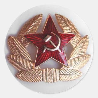 soviet red star badge classic round sticker
