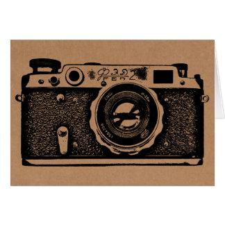 Soviet Russian Camera - Black on Cardboard Texture Note Card
