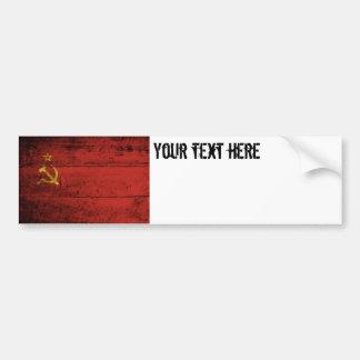 Soviet Union Flag on Old Wood Grain Bumper Sticker