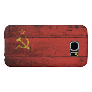 Soviet Union Flag on Old Wood Grain Samsung Galaxy S6 Cases