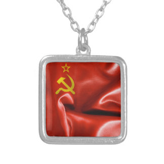 Soviet Union Flag Square Pendant Necklace
