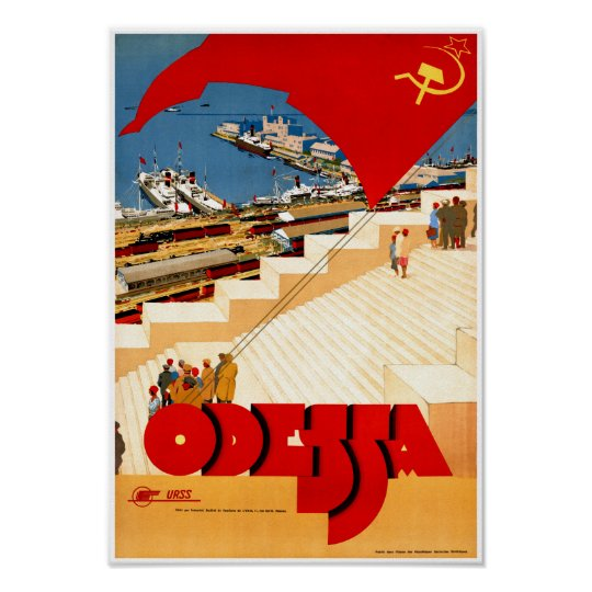 Soviet Union Odessa Vintage Travel Poster Restored