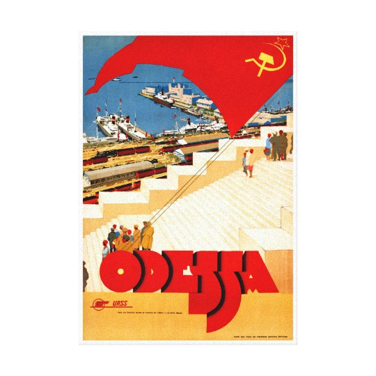 Soviet Union Odessa Vintage Travel Poster Restored Canvas Print