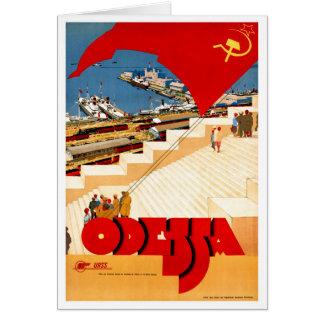 Soviet Union Odessa Vintage Travel Poster Restored Card