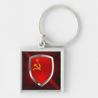 Sovietic Union Mettalic Emblem Silver-Colored Square Keychain