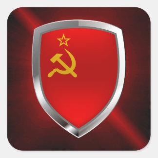 Sovietic Union Mettalic Emblem Square Sticker