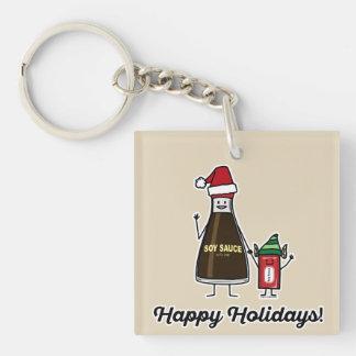 Soy Sauce Bottle Packet kid child Christmas Santa Keychain