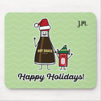 Soy Sauce Bottle Packet kid child Christmas Santa Mouse Pad