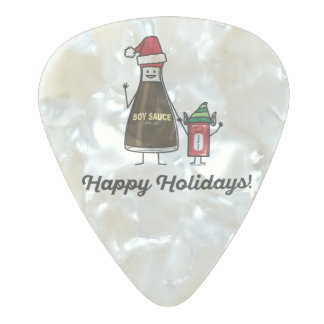 Soy Sauce Bottle Packet kid child Christmas Santa Pearl Celluloid Guitar Pick