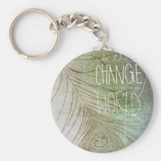 Soyez la citation de Gandhi de changement Porte-clé Rond