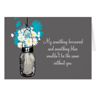 Soyez ma demoiselle d'honneur - pot et fleurs sauv cartes de vœux