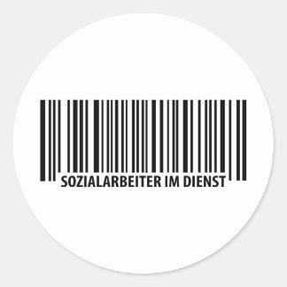 Sozialarbeiter im Dienst barcode icon Classic Round Sticker